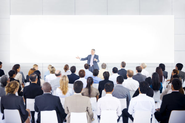 31306369 - large group of business people in presentation.